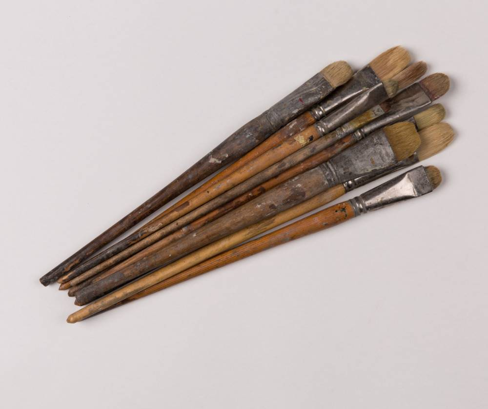 collection of antique paintbrushes